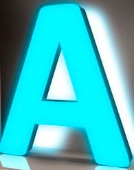 Объёмные буквы с неоновой подсветкой