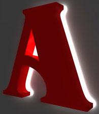 Объемные буквы с контурной подсветкой